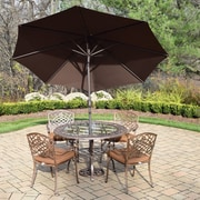 Oakland Living Mississippi 7 Piece Dining Set with Cushions; Brown