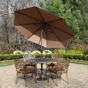 Oakland Living Mississippi 7 Piece Dining Set with Cushions; Champagne
