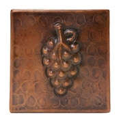 Premier Copper Products 4'' x 4'' Hammered Copper Grape Tile in Oil Rubbed Bronze