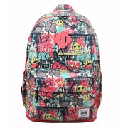 AfterGen Pink Polyester/PU Classic Backpack, Graffiti Smiley (AG003)