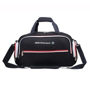 BMW Motorsports Overnight Large Duffel Bag, Navy Blue with White/Red (BMJ-106)