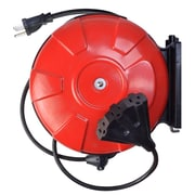 Woods 48006 14/3-Gauge 30-Foot Cord Reel Power Station with (3) Grounded Outlets, Black and Red