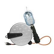 Designers Edge E251 14/3-Gauge 25-Foot Metal Retractable Cord Reel 100-Watt Handheld Incandescent Work Light, Diamond Plated