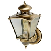 "15 - 1/2"" Beveled Square Coach Light w/ motion - Antique Brass"