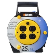 Woods 4907 16/3-Gauge 25-Foot Cord Reel Power Station with (4) Grounded Outlets, Black and Yellow