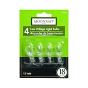 Moonrays 95529 18-Watt 12-Volt Wedge Base Replacement Light Bulb, 4-Pack, Clear Glass