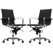 Manhattan Comfort Delancey Mid-Back Adjustable Office Chair in Black - Set of 2(MC-613- BL- B)