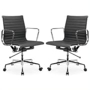 Manhattan Comfort  Ellwood Mid-Back Adjustable Office Chair in Black- Set of 2(MC-614-BL-B)