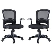 Manhattan Comfort Gracie Classic Adjustable Office Chair in Black- Set of 2(MC-615-B)