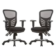 Manhattan Comfort Gouvernor Executive Mesh High-Back Adjustable Office Chair in Black- Set of 2 (MC-616-B)