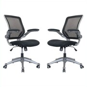 Manhattan Comfort Henderson Office Chair in Black- Set of 2(MC-619-B)