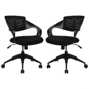 Manhattan Comfort Grove Mid-back Office Chair in Black- Set of 2(MC-620-B)