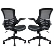 Manhattan Comfort Intrepid High-back Office Chair in Black- Set of 2(MC-622-B)