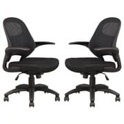 Manhattan Comfort Mercer Mesh Office Chair in Black- Set of 2 (MC- 625-B)