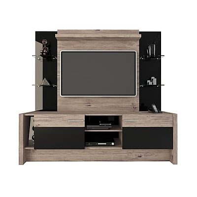 Manhattan Comfort Morning Side Freestanding Theater Entertainment Center in Nature and Black (22956) 2095102