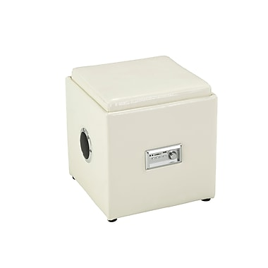 Brassex 583-CR Storage Ottoman with Reverse Tray and Audio, Cream, 16