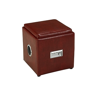Brassex 583-RD Storage Ottoman with Reverse Tray and Audio, Red, 16