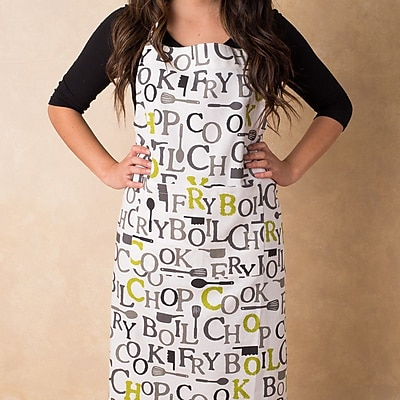 Linen Tablecloth Chef Print Apron; Charcoal