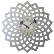 Mid Century Decor 20'' Kaleidoscopic Petal Clock; Silver