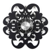 Mid Century Decor 20'' Fleur-De-Lis Clock; Dark Cherry