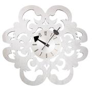 Mid Century Decor 20'' Fleur-De-Lis Clock; Silver