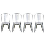 Replica Xavier NR6126-GA Pouchard Tolix Side Chair, Galvanized, Stainless Steele, 2/Pack