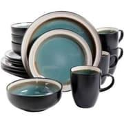 Gibson® Elite Central Ridge Stoneware 16-Piece Dinnerware Set, Blue, 107105.16