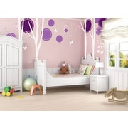 Pop Decors Nice 4 Big Birch Trees with Flying Butterflies Beautiful Wall Decal; Violet/White