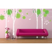 Pop Decors Nice 4 Big Birch Trees with Flying Butterflies Beautiful Wall Decal; Green/White