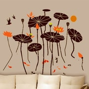 Pop Decors Beautiful Lotus with Fish Wall Decal