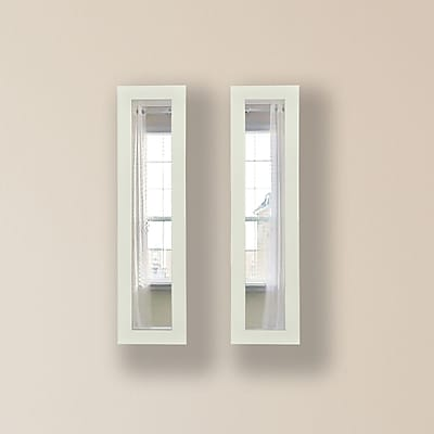 Rayne Mirrors Molly Dawn Glossy White Mirror Panels (Set of 2) ; 37.5'' H x 9.5'' W x 0.75'' D