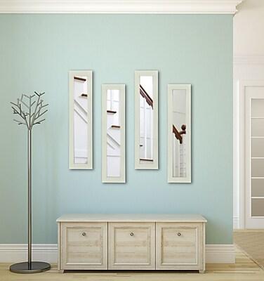 Rayne Mirrors Molly Dawn Glossy White Mirror Panels (Set of 4) ; 37.5'' H x 9.5'' W x 0.75'' D