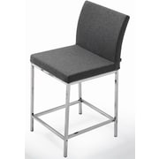 sohoConcept Aria Chrome 24'' Counter Stool; Silver Camira Wool