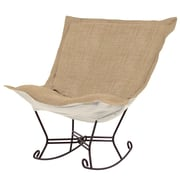 Howard Elliott Puff Scroll Rocking Chair; Coco Stone