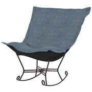 Howard Elliott Puff Scroll Rocking Chair; Coco Sapphire