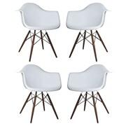 eModern Decor Scandinavian Arm Chair (Set of 4); Light Gray