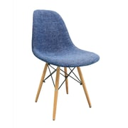 eModern Decor Mid Century Modern Woven Fabric Upholstered Side Chair; Blue