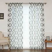 Best Home Fashion, Inc. Sheer Linen Moroccan Print Single Curtain Panel; Black