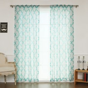 Best Home Fashion, Inc. Sheer Linen Moroccan Print Single Curtain Panel; Blue