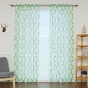 Best Home Fashion, Inc. Sheer Linen Moroccan Print Single Curtain Panel; Green