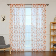 Best Home Fashion, Inc. Sheer Linen Moroccan Print Single Curtain Panel; Orange