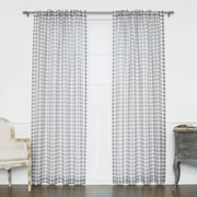 Best Home Fashion, Inc. Houndstooth Print Sheer Single Curtain Panel; Grey