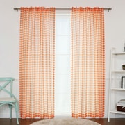 Best Home Fashion, Inc. Houndstooth Print Sheer Single Curtain Panel; Orange