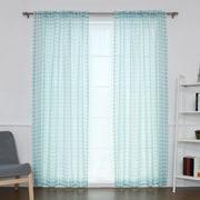 Best Home Fashion, Inc. Houndstooth Print Sheer Single Curtain Panel; Sky Blue
