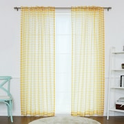 Best Home Fashion, Inc. Houndstooth Print Sheer Single Curtain Panel; Yellow