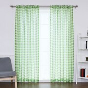 Best Home Fashion, Inc. Houndstooth Print Sheer Single Curtain Panel; Green