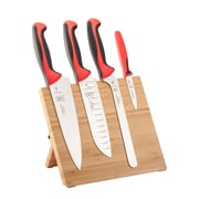 Mercer Cutlery Millennia 5 Piece Bamboo Magnetic Cutlery/Board Set; Red