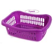 YBM Home Plastic Storage Basket (Set of 3); Purple