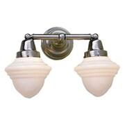 Norwell Lighting Bradford Schoolhouse 2 Light Vanity Light; Polished Nickel