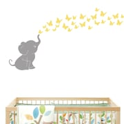 DecaltheWalls Elephant with Butterflies Wall Decal; Gray/Yellow